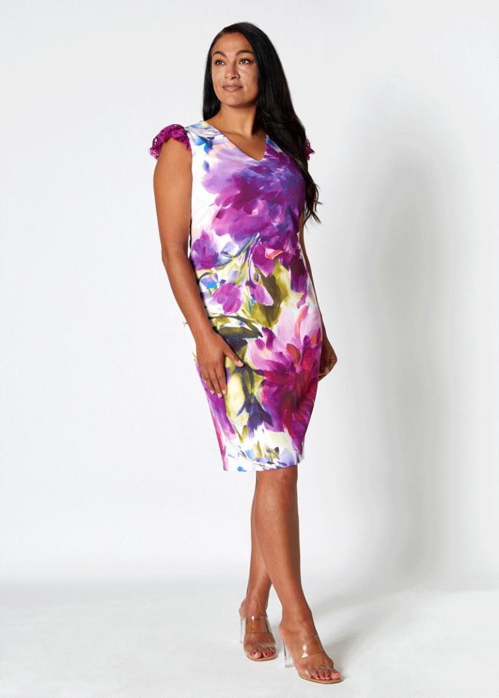 Elegant Spanish-Style Floral Dress (Purple)