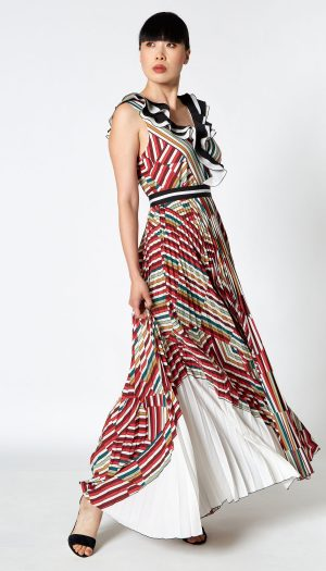 Pleated Striped Maxi Dress with Belt