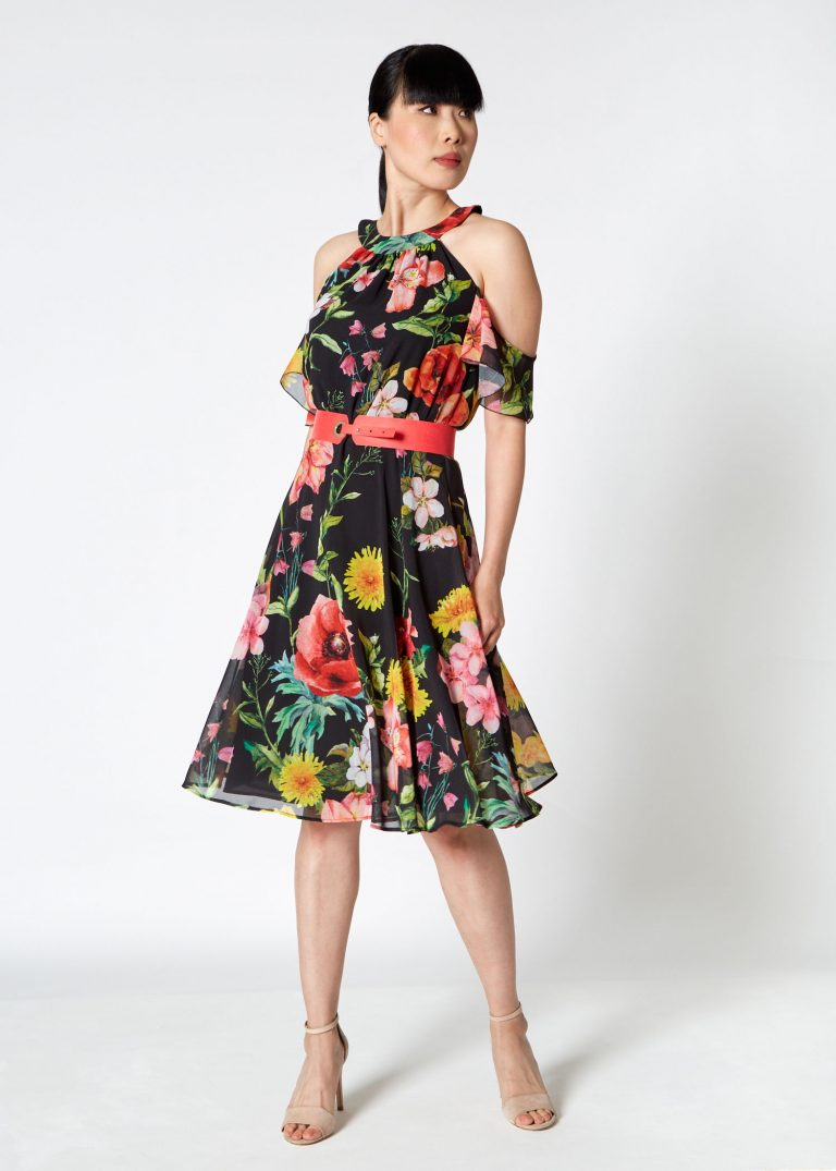 Black Spanish-Style Floral Dress with Red Belt