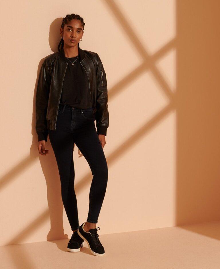 Superdry High Rise Skinny Jeans in Dark Blue - The Purple Orange