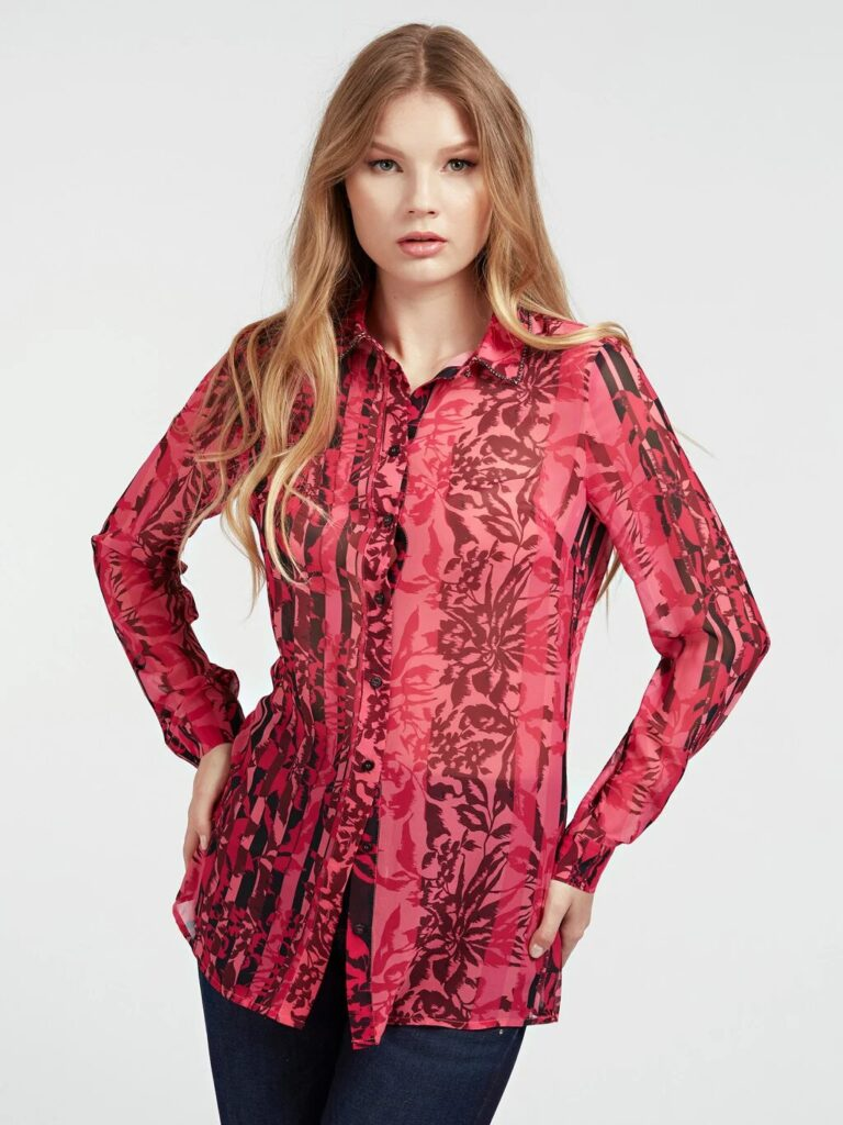 Guess All Over Print Shirt in Red - The Purple Orange