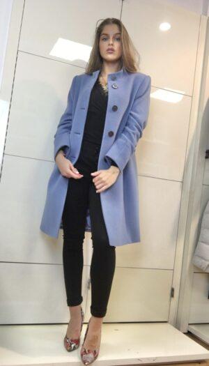 Wool Blend Coat in Powdered Blue - The Purple Orange