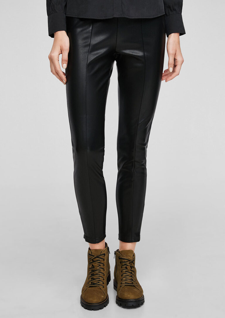 Vegan Leather Trousers with Zip Detail in Black - The Purple Orange