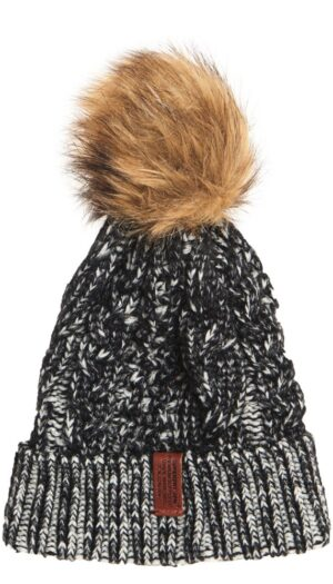 Superdry Beanie with Faux Fur Bobble in Monochrome - The Purple Orange
