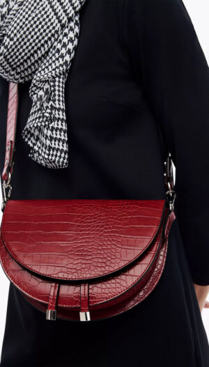 City Bag with Faux Reptile Leather in Red - The Purple Orange
