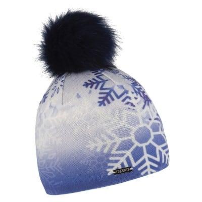 Beanie Snowflake Design with Inner Fleece in Blue (Faux Fur Pom Pom) - The Purple Orange