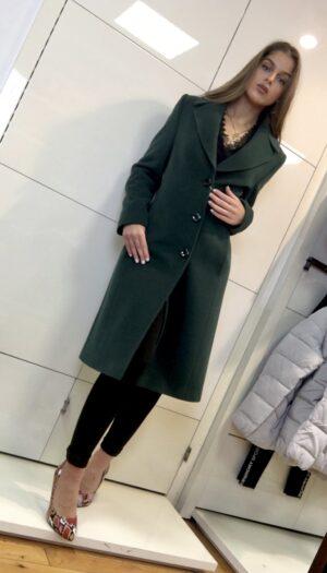 Wool Blend Coat in Emerald Green - The Purple Orange