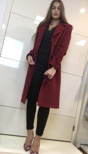 Wool Blend Coat in Ruby Red - The Purple Orange