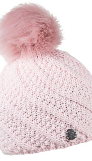 Beanie Knit with Inner Fleece in Soft Pink (Faux Fur Pom Pom) - The Purple Orange