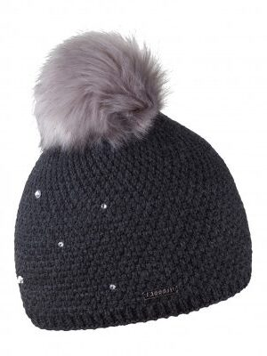 Beanie Knit with Inner Fleece & Rhinestones in Pearl Black (Faux Fur Pom Pom) - The Purple Orange