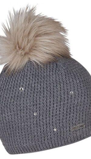 Beanie Knit with Inner Fleece & Rhinestones in Stone Grey (Faux Fur Pom Pom) - The Purple Orange