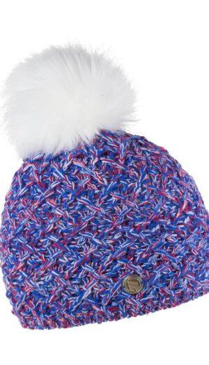 Sporty Beanie Knit with Inner Fleece in Blue & Red (Faux Fur Pom Pom) - The Purple Orange
