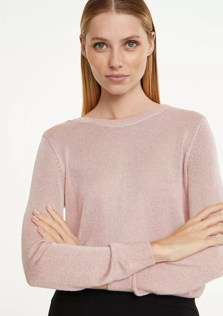Fine Knit Jumper with Glitter Yarn in Rose Pink - The Purple Orange