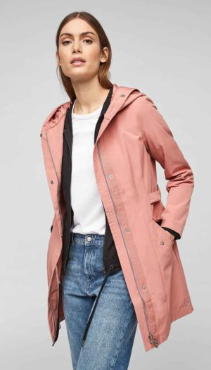 Slim-Fit Hooded Coat with Waist (in Blush Pink) - The Purple Orange