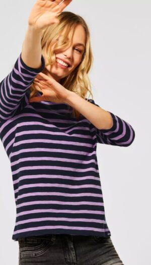 100% Cotton Shirt with Stripes in Black & Violet - The Purple Orange