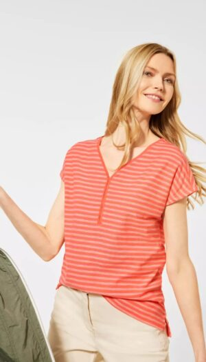 100% Cotton T-Shirt with Stripes in Coral Pink - The Purple Orange